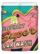 Elephant Car Wash And Space Needle - Seattle Duvet Cover