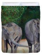 Elephant Family Gathering Duvet Cover