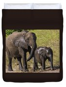 Elephant Mom And Baby Duvet Cover