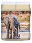 Elephant Mother And Calf Duvet Cover