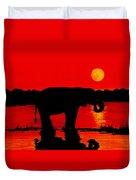 Elephant Silhouette African Sunset Duvet Cover