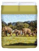 Elephant Train  Duvet Cover