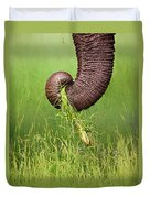 Elephant Trunk Pulling Grass Duvet Cover