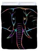 Elephant Watercolors - Black Duvet Cover