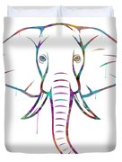 Elephant Watercolors - White Background Duvet Cover
