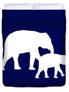 Elephants In Navy And White Duvet Cover