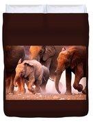 Elephants Stampede Duvet Cover