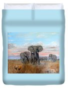 Elephants Warning To The Lions Duvet Cover