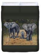 Elephants With Calf Duvet Cover