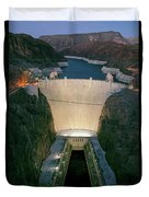 Elevated View At Dusk Of Hoover Dam Duvet Cover