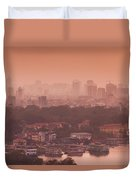Elevated View Of A Lake And A City Duvet Cover