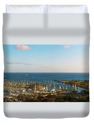 Elevated View Of Boats At A Harbor Duvet Cover