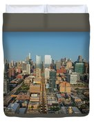 Elevated View Of Cityscape, Lake Street Duvet Cover