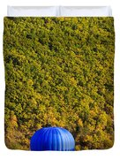 Elevated View Of Hot Air Balloon Duvet Cover