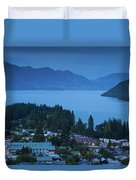 Elevated View Of Town At Dawn Duvet Cover