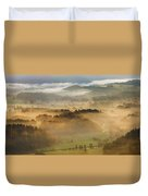 Elevated View Of Trees On Hill Duvet Cover
