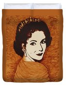 Elizabeth Taylor Original Coffee Painting On Paper Duvet Cover