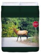 Elk Right Of Way Duvet Cover
