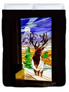 Elk Stained Glass Window Duvet Cover