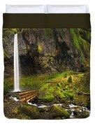 Elowah Falls Panorama -  Columbia River Gorge In Oregon Duvet Cover