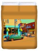 Elses Pub Cafe Plateau Montreal Corner Roy And De Bullion City Scene Art Of Montreal Carole Spandau Duvet Cover