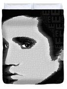 Elvis Presley Silhouette On Black Duvet Cover