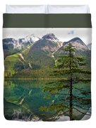 Emerald Lake Reflection And Pine Tree In Yoho National Park-british Columbia-canada Duvet Cover