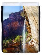 Emerald Pools Trail Waterfall - Zion Duvet Cover