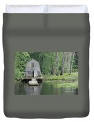Emerson Boathouse Concord Massachusetts Duvet Cover by Amy Porter