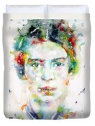 Emily Dickinson - Watercolor Portrait Duvet Cover