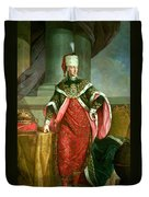 Emperor Francis I 1708-65 Holy Roman Emperor, Wearing The Official Robes Of The Order Of St. Stephan Duvet Cover