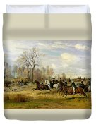 Emperor Franz Joseph I Of Austria Hunting To Hounds With The Countess Larisch In Silesia Duvet Cover