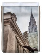 Empire State Building And Grand Central Station Dramatic Duvet Cover by For Ninety One Days
