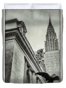 Empire State Building And Grand Central Station Vintage Black And White Duvet Cover by For Ninety One Days