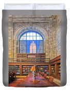 Empire State Building At The New York Public Library Duvet Cover