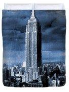Empire State Building Blimp Docking Blue Duvet Cover