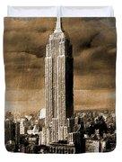 Empire State Building Blimp Docking Sepia Duvet Cover