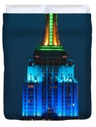 Empire State Building Lit Up At Night Duvet Cover