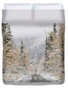 Empty Road Passing Through A Forest Duvet Cover