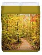 Empty Trail Runs Through Tall Trees Duvet Cover