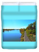 Empty Train Tracks Of Rockford On The Rock River With Fall Colors Duvet Cover