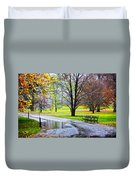 Empty Walkway On A Beautiful Rainy Autumn Day Duvet Cover