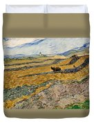 Enclosed Field With Plowman  Duvet Cover