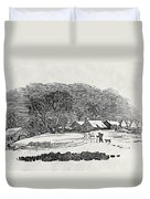Endpiece, Late 18th Or Early 19th Century Wood Engraving 99;landscape; Winter; Figure; Snow; Snowy; Duvet Cover