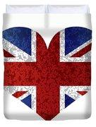 England Union Jack Flag Heart Textured Duvet Cover