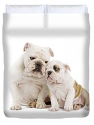 English Bulldog, Adult And Puppy Duvet Cover