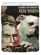 English Bulldog Art Canvas Print - Rear Window Movie Poster Duvet Cover