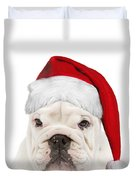English Bulldog In Christmas Hat Duvet Cover