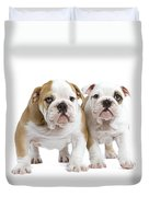 English Bulldog Puppies Duvet Cover