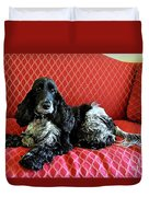 English Cocker Spaniel On Red Sofa Duvet Cover by Catherine Sherman